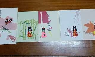 🚚 日本人型娃娃名信片(一組四張)