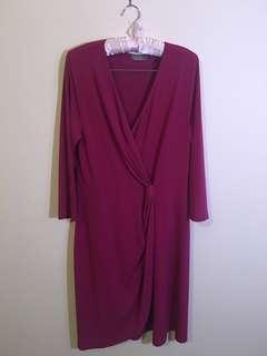 Jacque E size L purple (magneta) color dress 3/4 sleeves