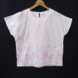 FASHIONABLE Floral Embroidery Boxy Blouse (Pink)