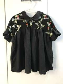Black Floral Top (Small or Medium size)