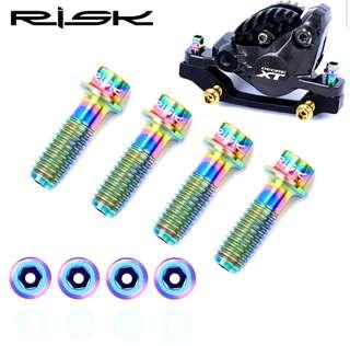 🚚 **In-Stock = RISK Lightweight M6*18 Disc Brake Caliper Titanium Rianbow Hollow Bolt MTB Bike XT Magura
