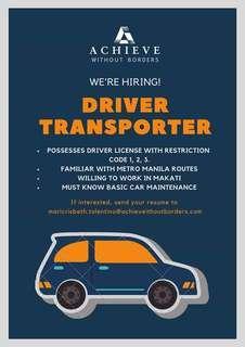 Hiring: Driver/Transporter