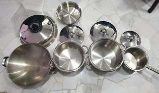 Stainless steel Pots and wok (4 units)
