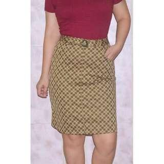 Plaid Checkered Pencil Midi Skirt w/ Belt