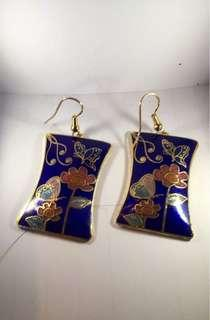 搪瓷繪圖吊飾耳環 Enamel drawing charm earrings