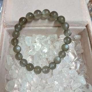 灰月亮石手鏈 天然水晶