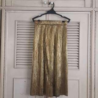 Zara gold pleated midi-length skirt