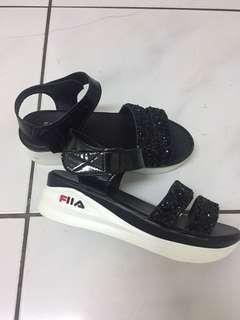 Fila黑色亮片涼鞋