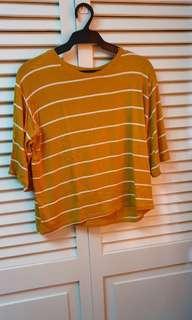 Striped Mustard Semi Crop Top