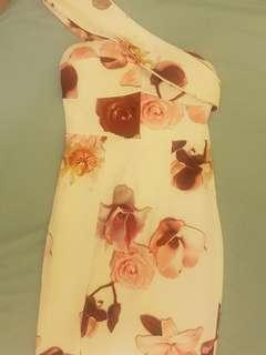 Selling Rose Patterned One Shoulder/Strapless Midi Dress