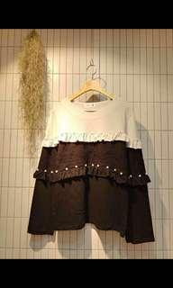 Made in Korea 黑白 lace top