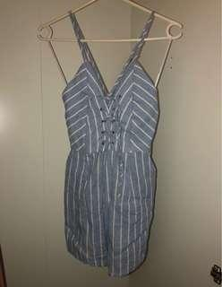 Play suit blue stripe (w/pockets)