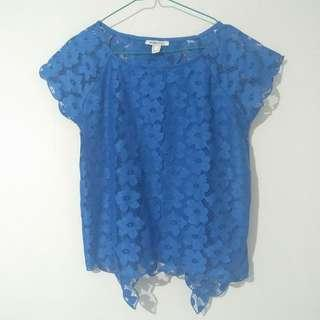 Suite Blanco Flowery Backless Blue Top