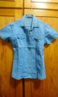 🚚 水洗藍牛仔短袖外套上衣