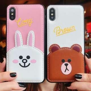 Line bear rabbit pu leather card slot phone case