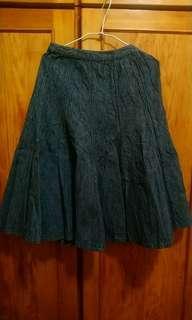 🚚 日本製特色條紋厚布中長裙