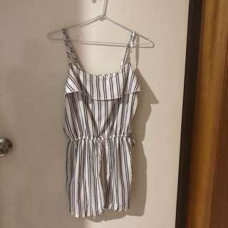 Tie Waist Striped Cami Romper