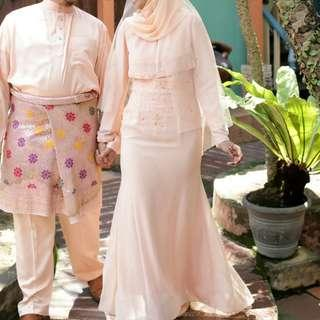 Peach Wedding Engagement Dinner Dress