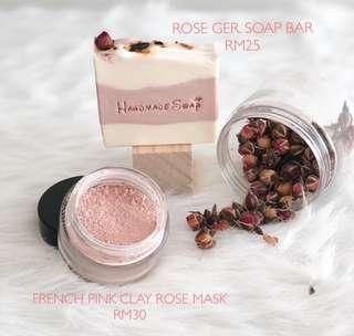 French pink clay rose mask