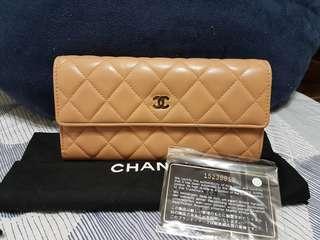 🚚 正品Chanel 小羊皮coco長夾 菱格紋