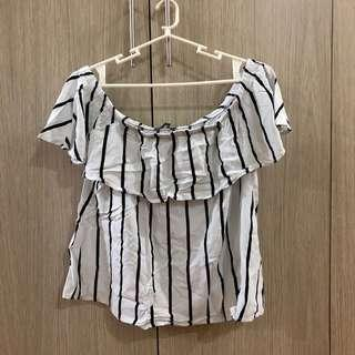 Cotton On Off Shoulder Top Black and White Stripes