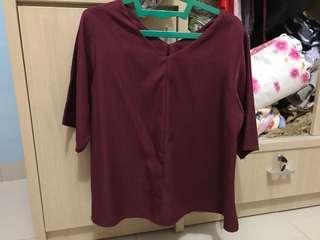 maroon top