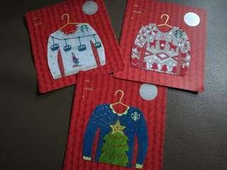 🚚 Set of 3 Starbucks Christmas Sweater Cards