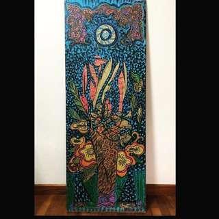 Wood Art : Batik Flower Motif Painting
