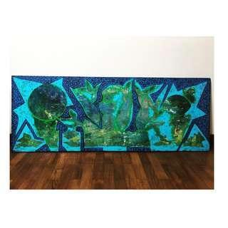 Wood Art : Abstract Batik Motif Painting