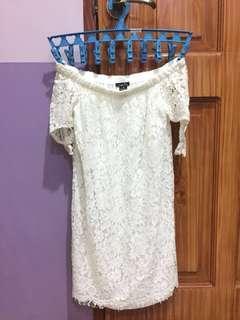 WHITE FLORAL OFF- SHOULDER DRESS