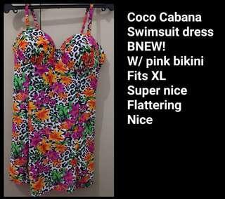Coco Cabana Swimsuit Dress with Pink Bikini