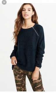 Abercrombie zip sweater in navy