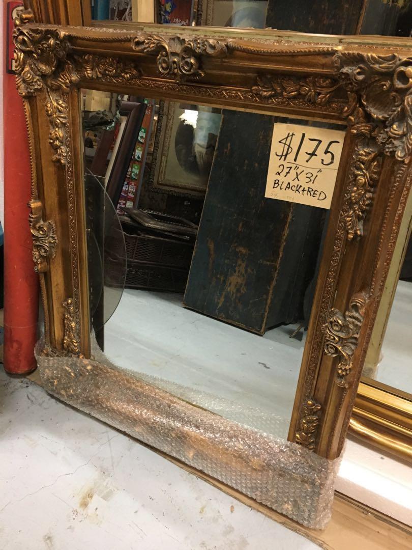 "27"" x 31"" Black Red Gold Frame Mirror Antique Vintage Style Ornate carved wood"