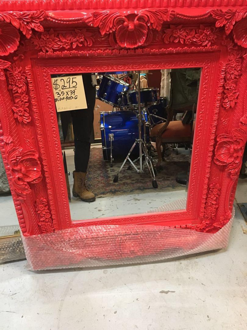 89 x 99 cm Red Black Frame Mirror Antique Vintage Style Ornate carved wood