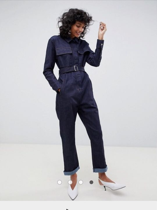 4d7780708e ASOS WHITE Utility Jumpsuit in Indigo Denim