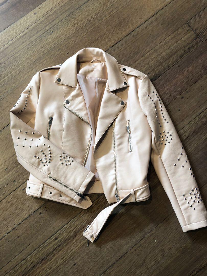 Baby Pink vintage studded biker jacket (not real leather )