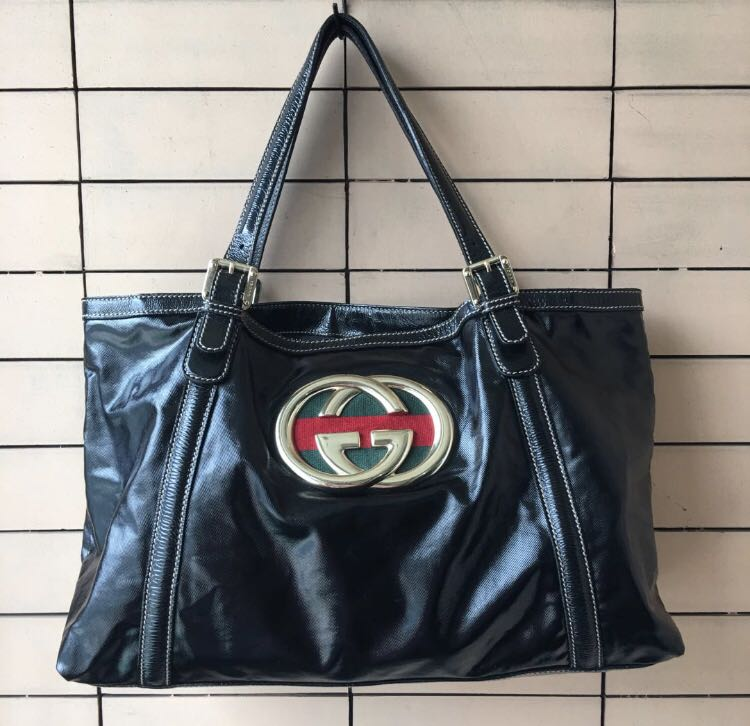 5a030382939d BLACK GUCCI DIALUX PATENT GG STRIPE BRIT TOTE BAG, Luxury, Bags ...