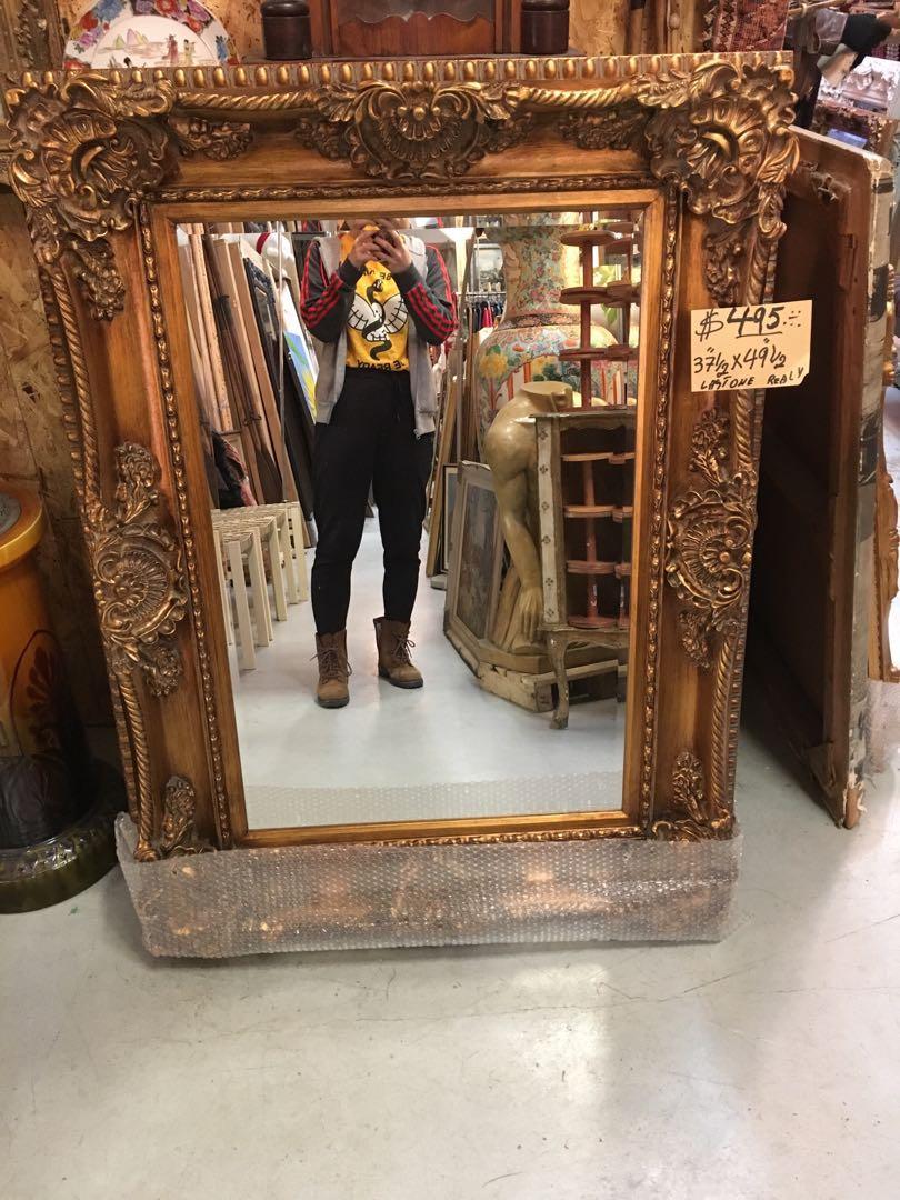 """LAST ONE! 37 1/2"""" x 49 1/2"""" Gold Frame Mirror Antique Vintage Style Ornate carved wood"""