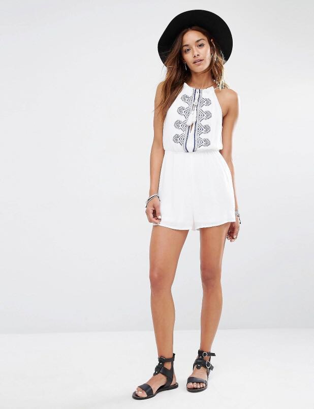 bb9d7b12d76 Missguided Cheesecloth Embroidered Playsuit   Romper