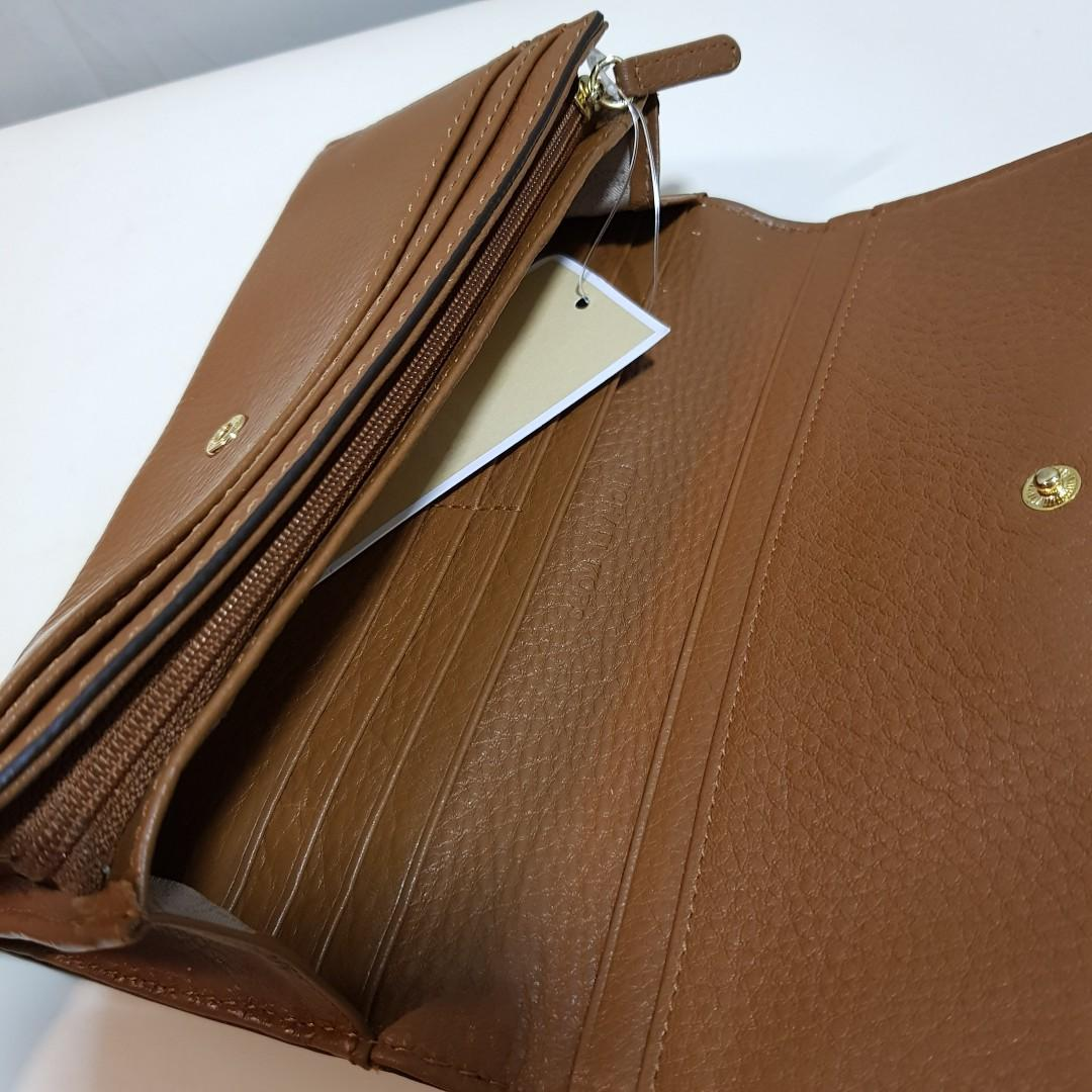 Authentic MK Micheal Kors Leather Wallet Purse Brown