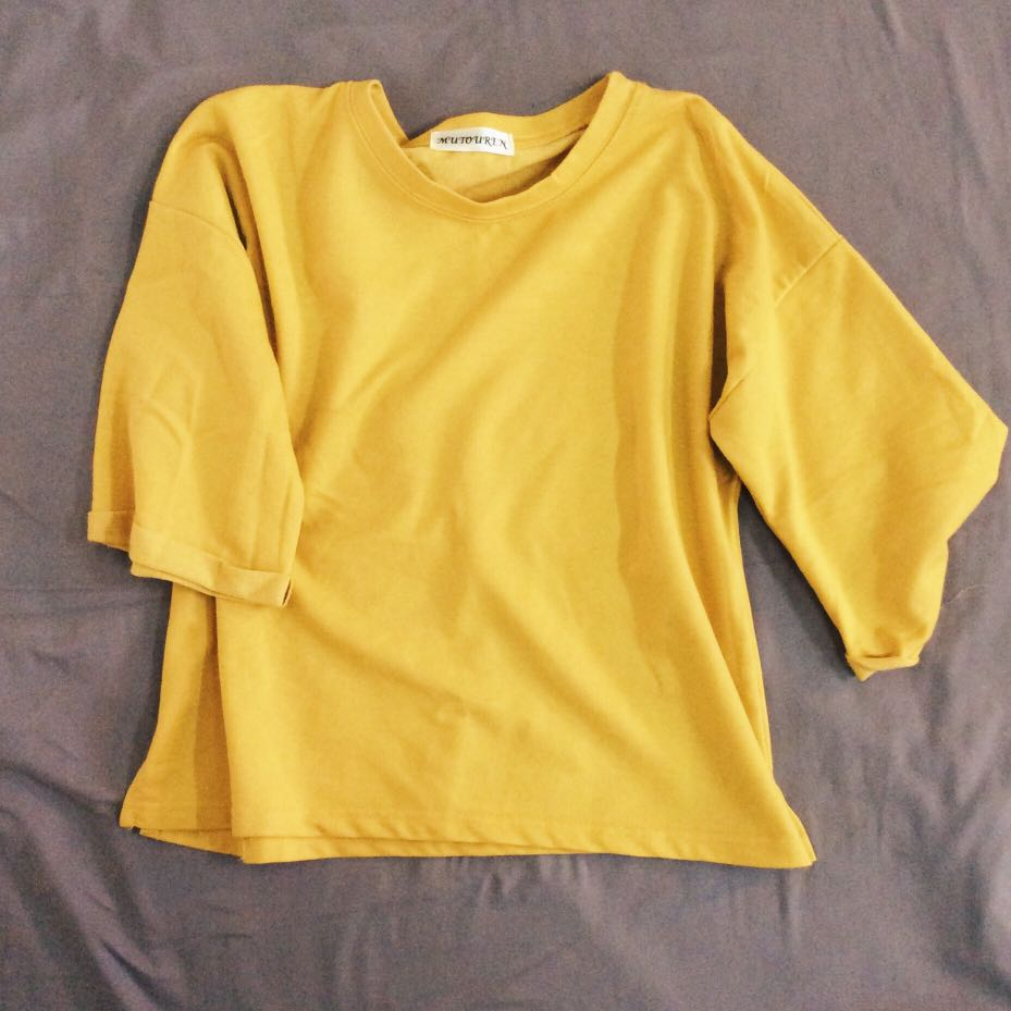 0dc8f8de68 mustard yellow oversized tee, Women's Fashion, Clothes, Tops on ...