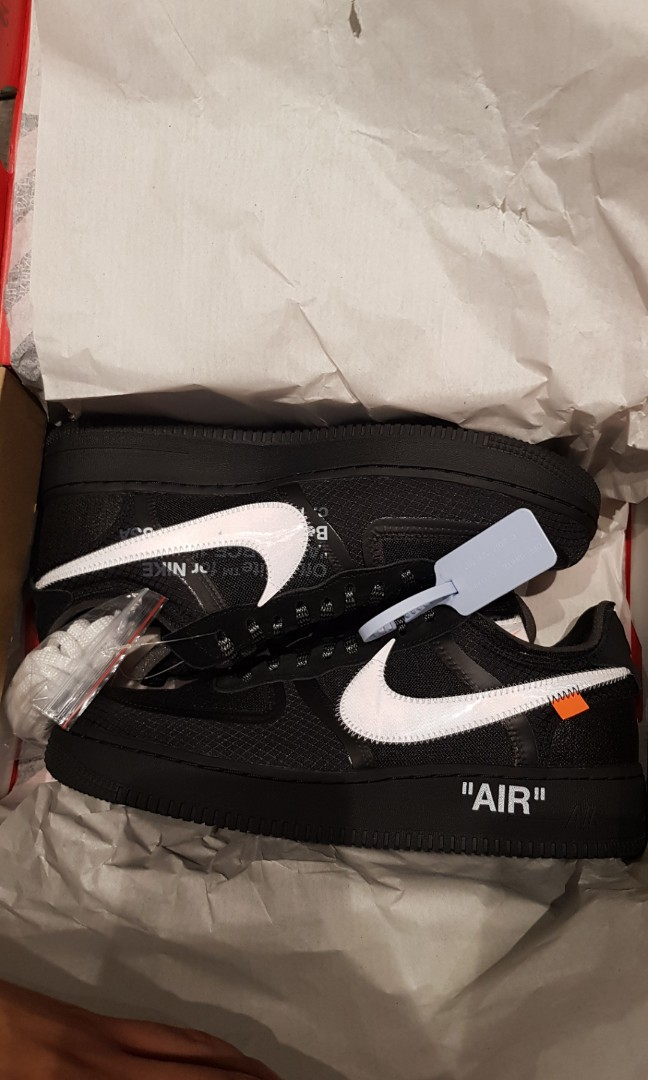 brand new 40f92 98f6d Nike Off White Air Force 1 Black, Men's Fashion, Footwear, Sneakers ...
