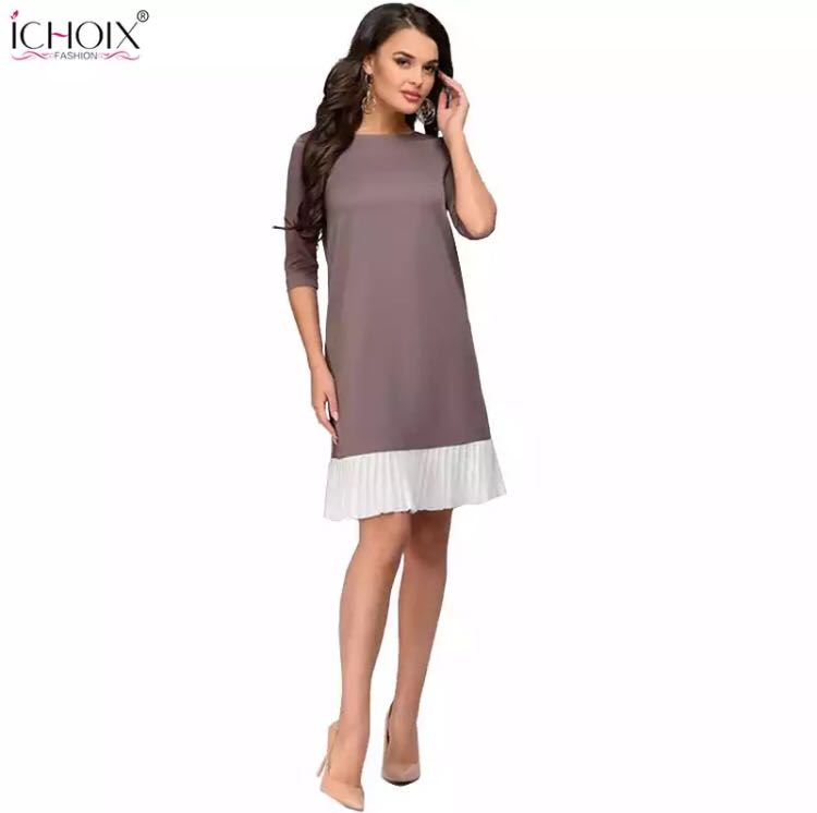 d76139fb8cd (PO) S-XL 2019 Summer Work Wear Dress Fashion Blue Khaki Patchwork Casual  Style Straight Short Dress Office