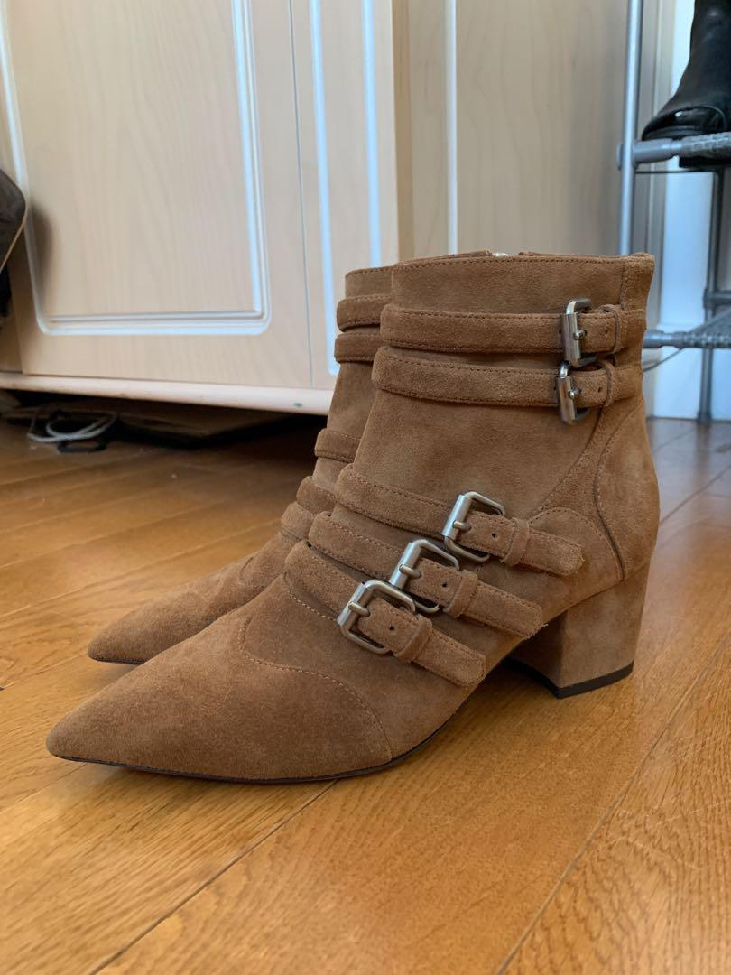Tabitha Simmons Christy buckled suede ankle bootie