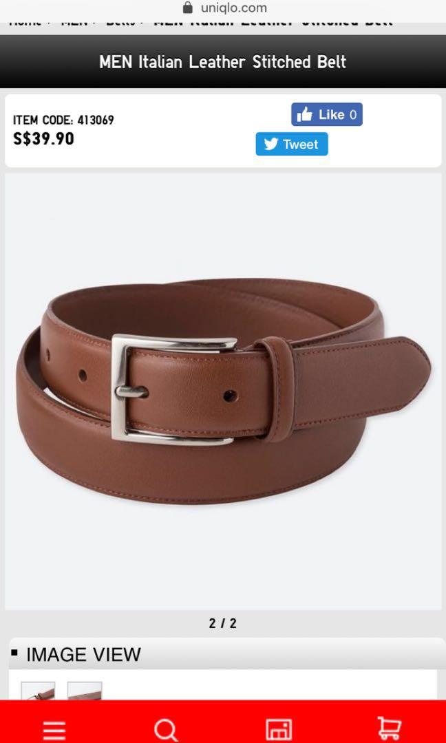 40f7e717acea Uniqlo MEN Italian Leather Stitched Belt