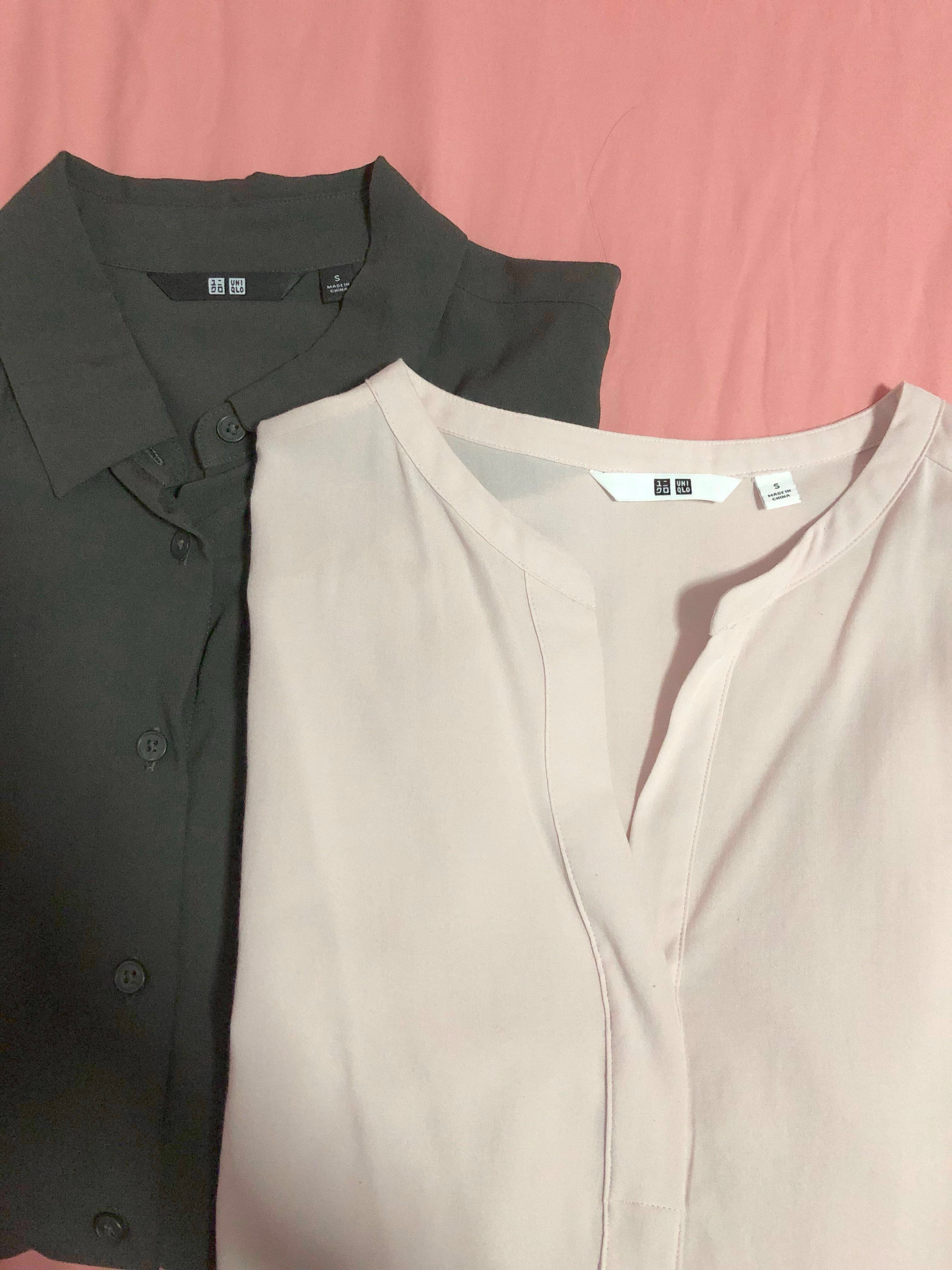 9f419f62e12c00 Uniqlo Skipper Collar (Pink) & Rayon Blouse (Olive) Tops, Women's ...