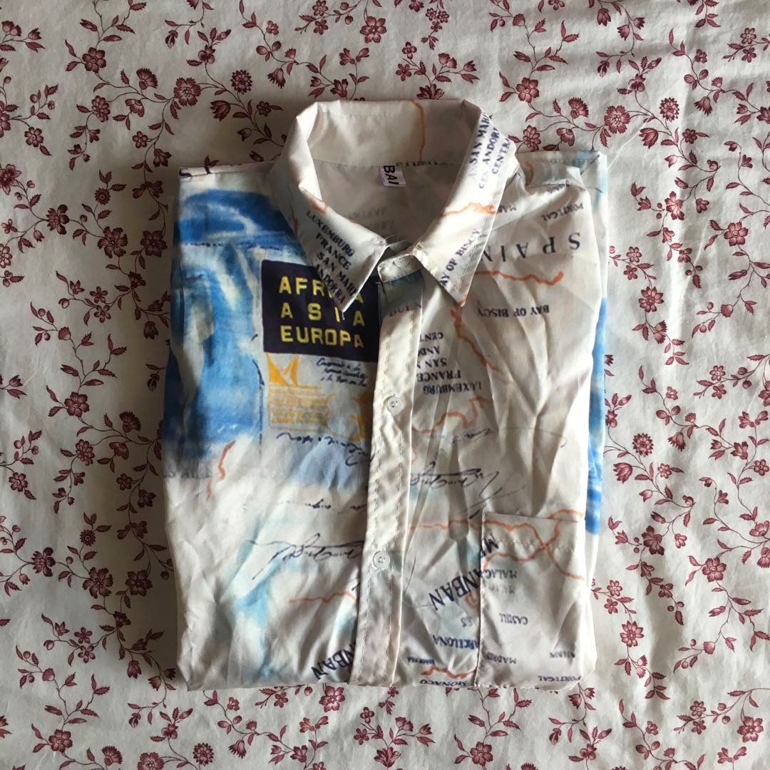 World Map Button Down Shirt.World Map Ulzzang Tumblr Trendy Short Sleeved Printed Top Button Up