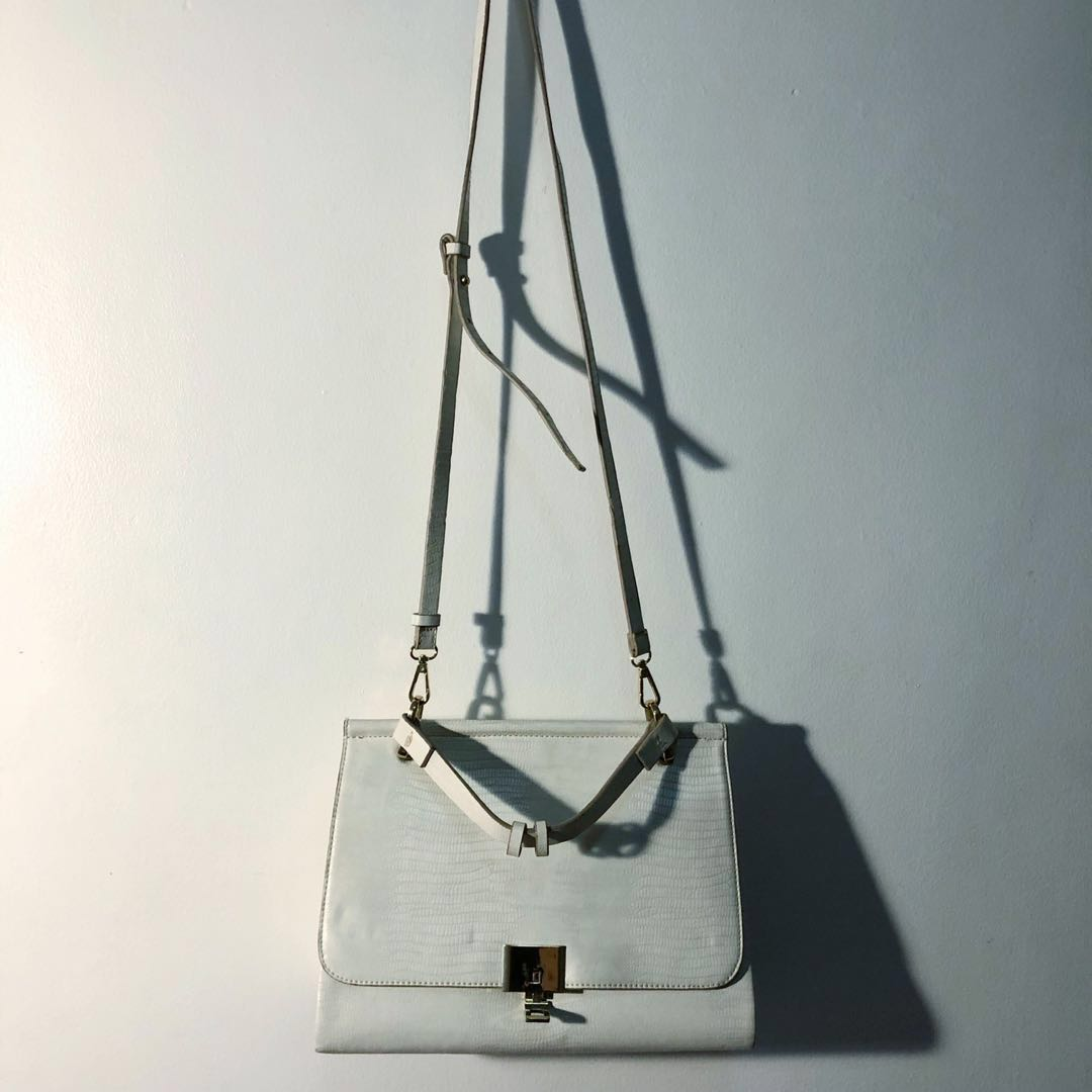 1d6c75942 Zara white crocodile skin city bag with fastening detail, Women's ...