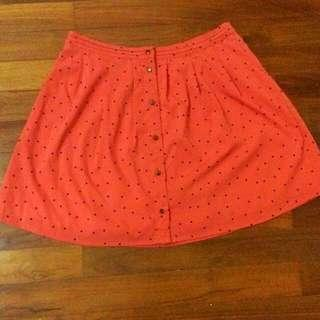 🚚 Almost New Springfield L Sized Orange Dotted Skirt