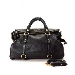 Miu Miu Vitello Lux Leather Bow Bag Large